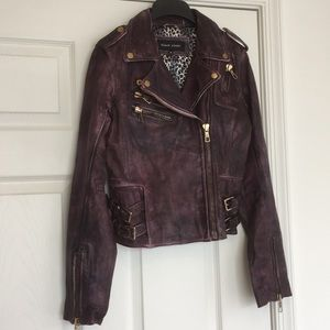 Distressed Leather Oxblood Jacket